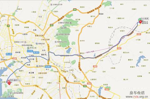 昆明火车站,再转乘44路公交车至中国兵器房车温泉